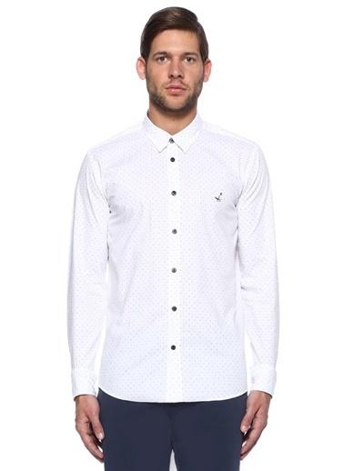 Beymen Club Puantiyeli Uzun Kollu Gömlek Beyaz